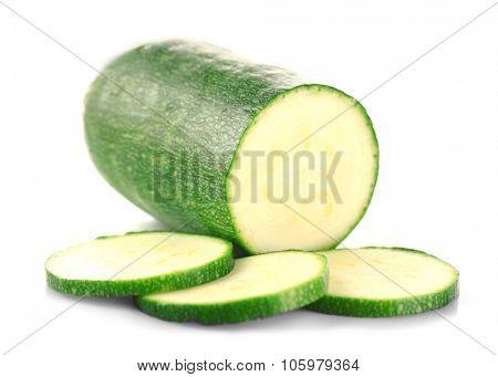 Fresh zucchini isolated on white