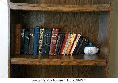 Bibles on a Shelf
