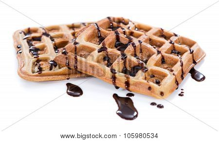 Waffles With Chocolate Sauce (isolated On White)