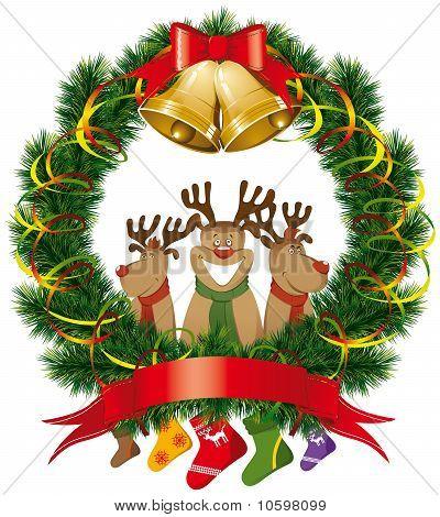 Christmas Reindeer With Christmas Bells