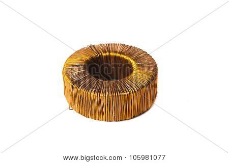 the electromagnetic coil isolated on white background
