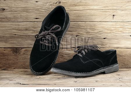 Male Black Suede Boots With Laces