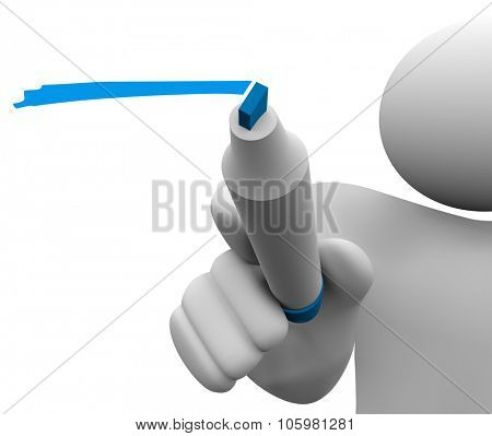 3d isolated man or person with blue marker or pen underlining or writing to share or communicate a message