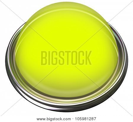 Yellow round 3d isolated button or light to catch or grab attention with a message or advertisement