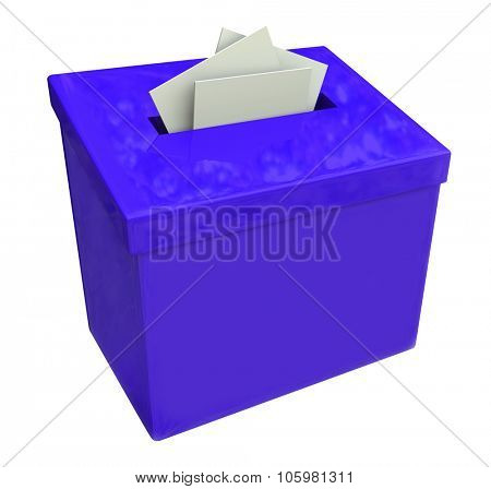 Blue suggestion box isolated for collecting ideas, comments and feedback