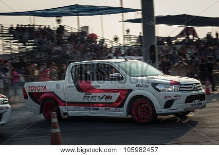 Pick-up Car Perform Drifting On The Track With Motion Blur