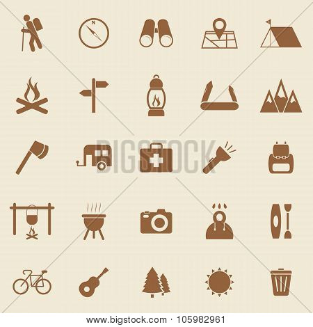 Trekking Color Icons On Brown Background