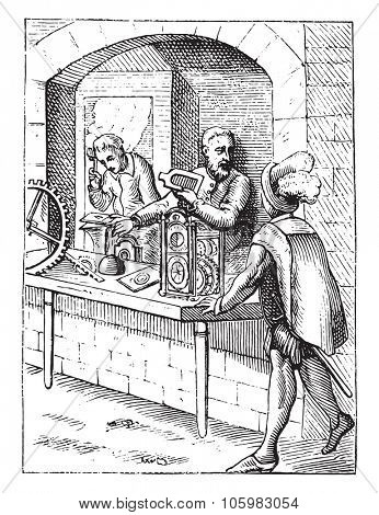 Clocks in the sixteenth century, vintage engraved illustration. Magasin Pittoresque 1882.