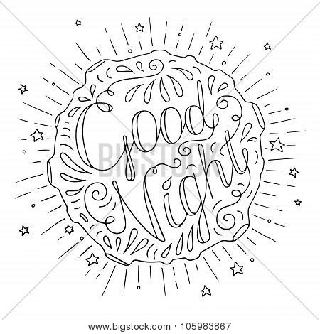 Doodle Typography Poster With Moon And Stars
