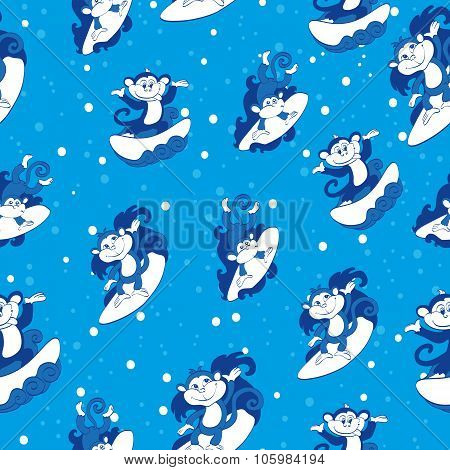Vector Blue Surfing Monkeys Seamless Pattern. California Hawaii