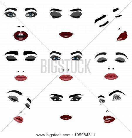 Set of beauty Woman Face Elements