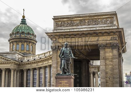 St Petersburg, Russia - July 28, 2015: Monument To Barclay De Tolly On The Background Of The Kazan C