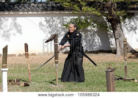 Samurai japanese clothing uniform with katana sword