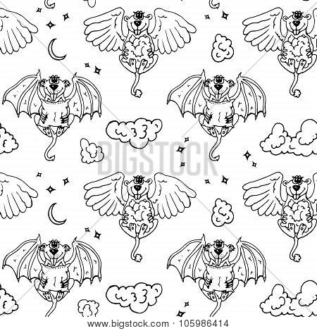Cartoon pattern with monsters angel and yo.