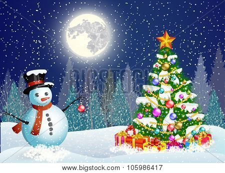 cute snowman decorating a Christmas tree