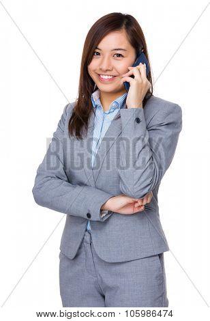 Aisan Businesswoman talk to cellphone