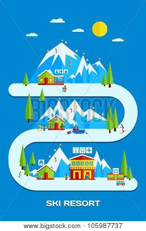 Ski Resort. Flat Vector Illustration with Skiers, Snowboarders, the Resort Infrastructure.