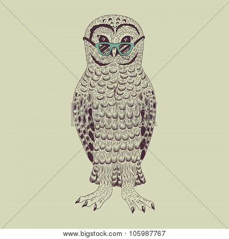 Hipster owl vector illustration.