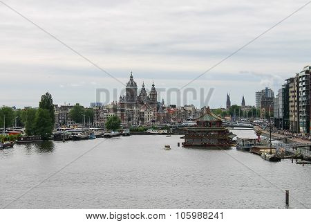 City View From The Lookout On The Roof Of Museum Nemo In Amsterdam