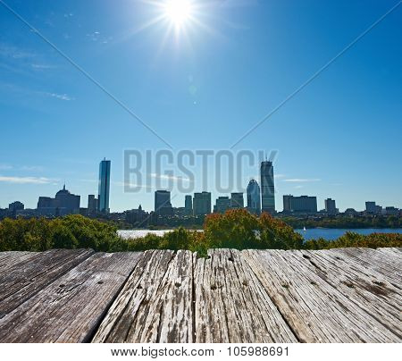 Boston skyline view with sun backlight from Cambridge at Massachusetts, USA