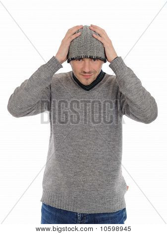 Handsome Casual Man In Winter Hat And Warm Clothes. Isolated On White Background