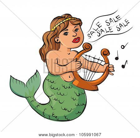 Mermaid Playing A Harp And Sings About The Sale