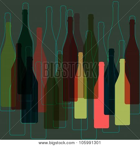 Bottles Wine Background Vector