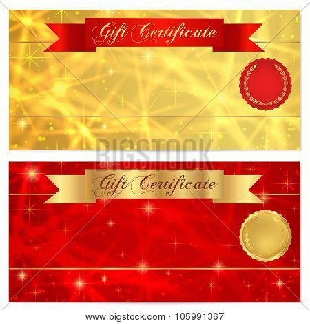Gift certificate, Voucher, Coupon, Reward, Ticket template with stars, ribbon