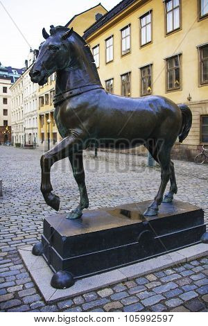 Statue Of A Horse In In Stockholm