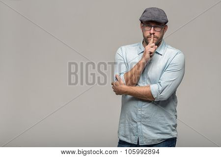 Man Making A Shushing Gesture