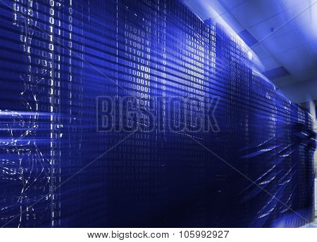 Rows Of Server Hardware With Blue Backlight