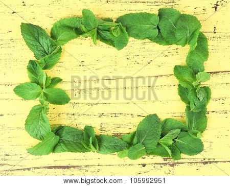 Frame of fresh mint on yellow wooden background