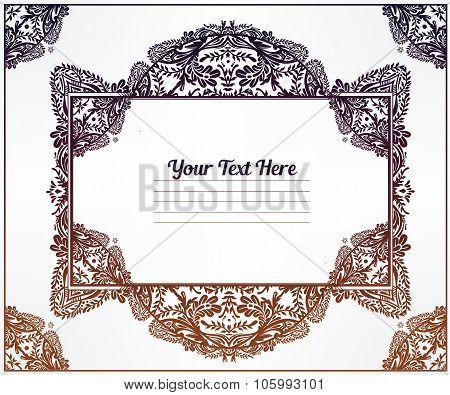 Oriental ornate floral frame. Vignette.
