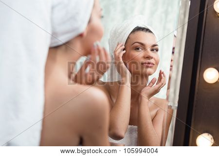 Beautiful Woman Pampering Her Skin