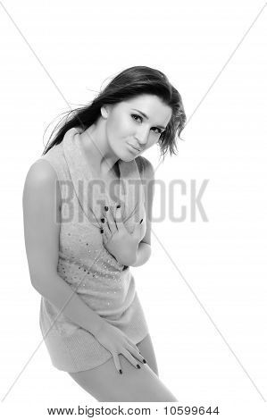 Young Sexy Woman With Slim Body In Short Dress. Isolated On White Background