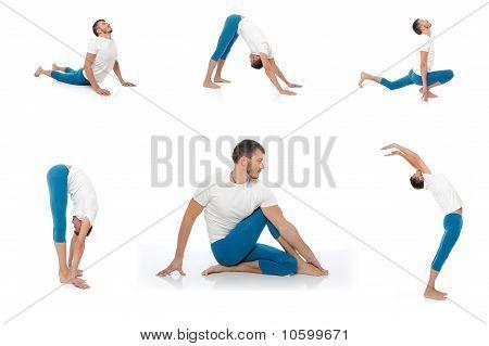 Grupo de fotos de guapo hombre activo haciendo Yoga Fitness plantea. Aislado sobre fondo blanco