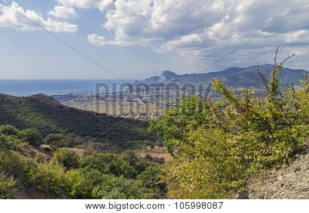 Panorama Of A Small Resort Town In The Crimea From The Mountainside