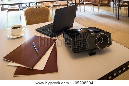 Modern Projector And Laptop