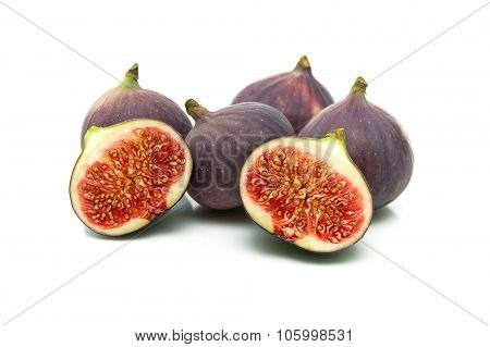 Ripe Juicy Figs On A White Background