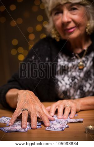 Female Seer Using Tarot Cards