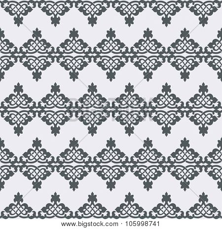 Vector seamless pattern. Monochrome graphic design. Decorative geometric ornament. Regular vintage background. Modern stylish ornament.