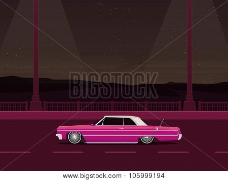 Pink Lowrider On The Evening Road, Night City, Vector Art