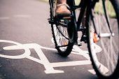Постер, плакат: City Bicycle Riding On Bike Path