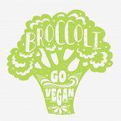 Постер, плакат: Vegan Typographic Print With Broccoli