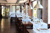 stock photo of premises  - inner vista of modern restaurant whith tables and glass - JPG