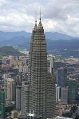 picture of petronas twin towers  - aerial view of the petronas twin towers in kuala lumpur malaysia - JPG