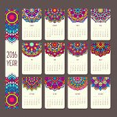 Постер, плакат: Calendar 2016 with mandalas