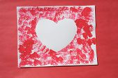 picture of valentine card  - a sponge print craft project - JPG