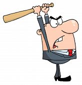 foto of angry man  - Caucasian Businessman Holding A Bat Over His Head - JPG