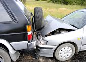 foto of accident emergency  - Accident of two cars on a highway - JPG